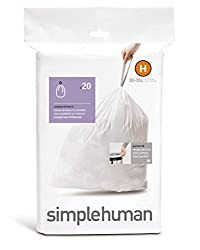 simplehuman Custom Fit Trash Can Liner H, 30 Liters / 8 Gallons, 20-Count (Pack of 4)