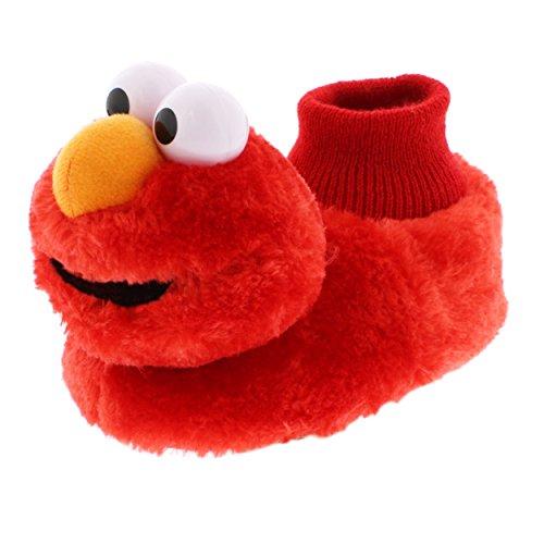 Sesame Street Elmo Little Kids Sock Top Slippers (5-6 M US Toddler, Laugh Red)