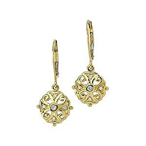 IceCarats Designer Jewelry 1/10 Ctw Diamond Filigree Dangle Lever Back Earrings 14K Yellow Gold