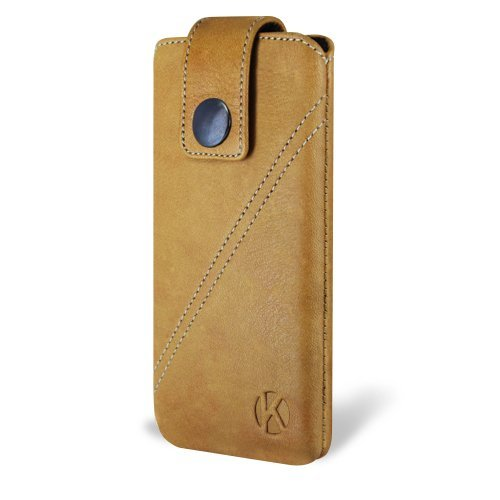 Special Sale iPhone 5 Case - Kouros Strap - Genuine Italian Leather Case - Pouch Cover (Camel)