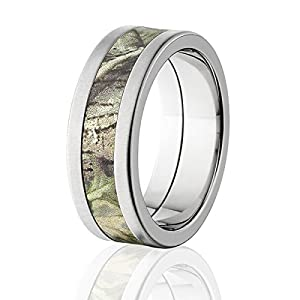 RealTree AP Green Crossbrush Finish Titanium Camo Wedding Rings