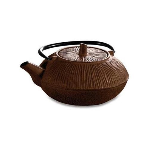 Epoca Inc. Primula Brown Ribbed 28 Ounce Cast Iron Teapot