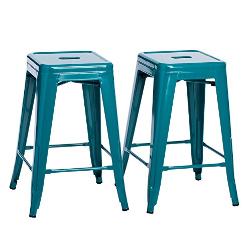 Set of 2 Turquoise French Bistro Counter Stools