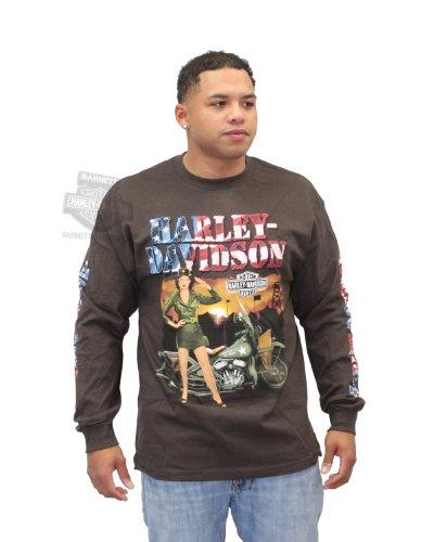 Harley-Davidson Mens Army Girl Pinup H-D Patriotic Brown Long Sleeve T-Shirt - Xl