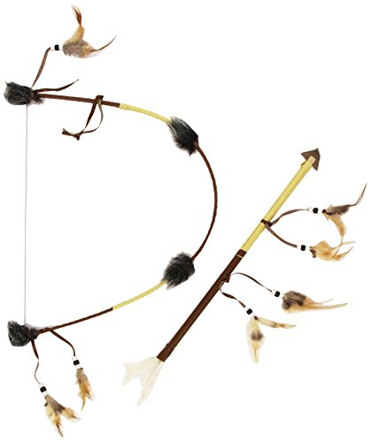 Smiffys Indian Bow & Arrow Set Deluxe With Feathers Fancy Dress