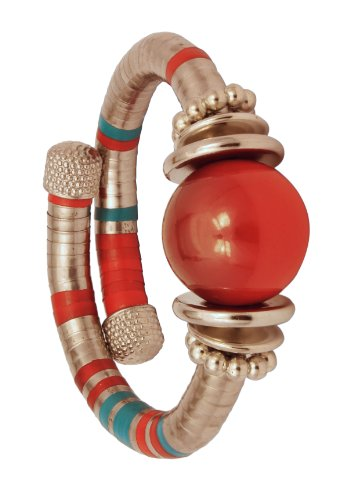 German Silver Red Beaded Funky Spiral Bangle Birthday Gift Ideas for Women or Girls