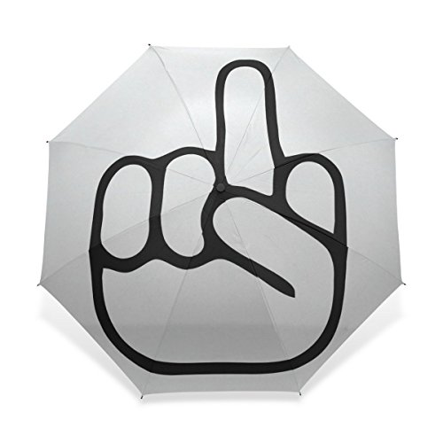 Yochoice Ultralight Foldable Travel Umbrella,Cool Middle Finger Fuck Cartoon Design,Anti Windproof Tested Compact Ultraslim Sport Umbrellas Rain Umbrella