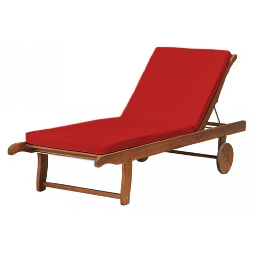 Outdoor Garden Sun Lounger Pad / Cushion in Red, Comfortable and Lightweight. Great for Indoors and Outdoor Use, Made from High Quality Water Resistant Material.