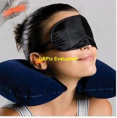 Inflatable Travel Pillow with Mask and Earbuds