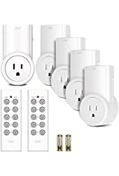 Etekcity Energy Saving Programmable Remote Control Electrical Plug & Outlet / Wireless Switch Kit for Household Appliances and Devices w/o Built-in Power ON/OFF Switches (Learning Code, 5Rx-2Tx)