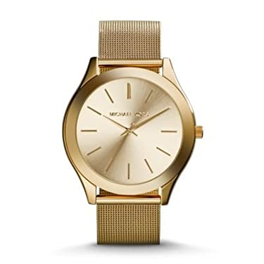 Michael Kors MK3282 Slim Runway Champagne Dial Gold-tone Mesh Women's Watch