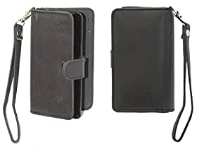 Jo Jo A9 Nillofer Leather Carry Case Cover Pouch Wallet Case For philips sapphire s616 Black