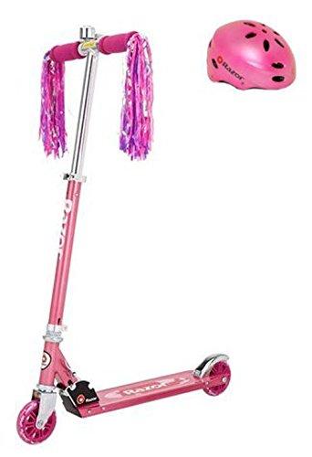 Razor A Sweet Pea Girls/Kids Kick Scooter (Pink) & Child Helmet (Pink)