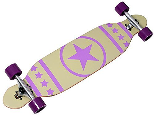Longboard Racing Board 96 cm lang mit lila Stern weiß ABEC-7 Kugellager