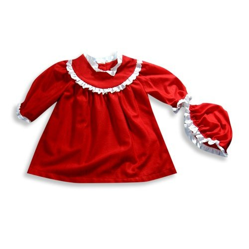 Bellepointe - Infant Girls Long Sleeve Nightgown Set, Red (Size 12Months)