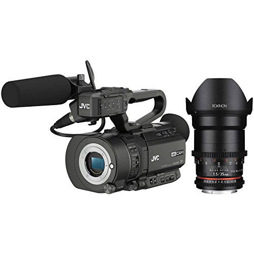 JVC GY-LS300CHU Ultra 4K HD 4KCAM Super 35 Pro Camcorder & Mic Top Handle Audio Unit with Rokinon 35mm T/1.5 DS Cine Lens