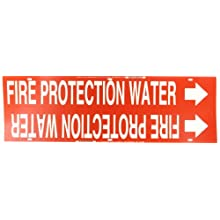"Brady 4060-H Strap-On 10"" - 15"" Outside Pipe Diameter B-915 Printed Plastic Sheet With Nylon Straps White On Red Color Pipe Marker Legend ""Fire Protection Water"""