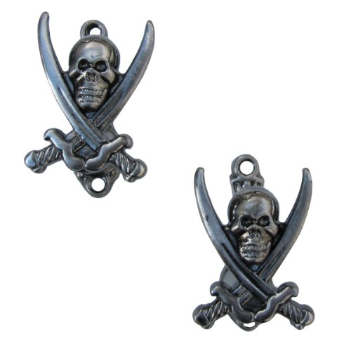 2 Pirate Jolly Roger Wall Mount Hooks