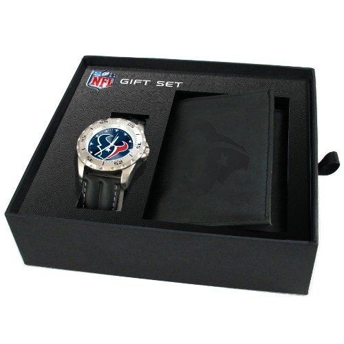Game Time Men'S Nfl-Wwg-Hou Houston Texans Analog Strap Watch And Wallet Set