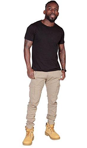 Pantaloni Cargo Uomo Slim Fit - Beige Pantaloni da uomo con multitasche