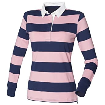 Front Row Womens Ladies Striped Rugby Polo Shirt At Amazon