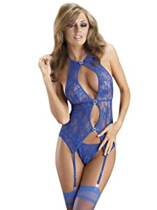 Sexy Royal Blue Lace Bustier 3 Piece Set g-string and Black Stocking Included