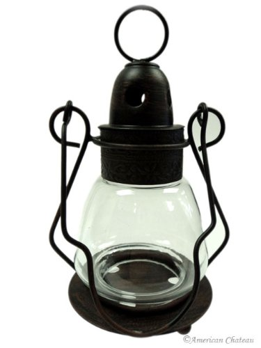 Clear Glass & Bronze Moroccan Candle Hanging Lantern