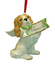 Cute Christmas Holiday Cocker Spaniel Dog Ornament Statue Figurine