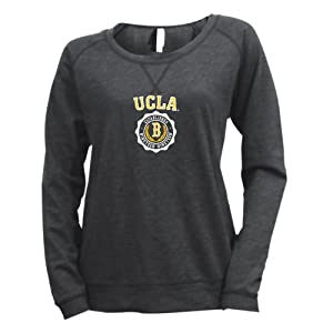 NCAA UCLA Bruins Ladies Striped Baby French Terry Crew Sweatshirt by Ouray Sportswear