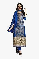 Ishin Chanderi Cotton Blue&Golden Dress Material