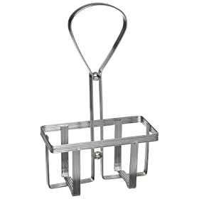 Adcraft SHR-2 Chrome Plated Oil and Vinegar Cruet Rack for Glass Cruet