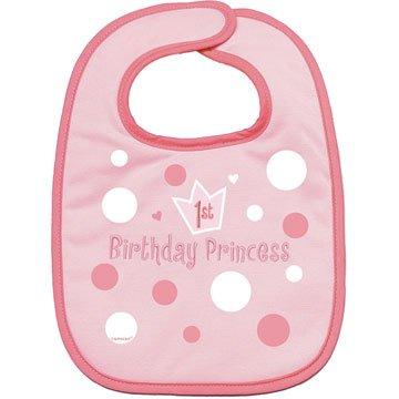 Baby Girl's First Birthday Embroidered Fabric Bib