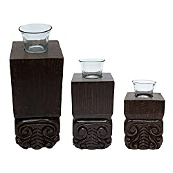 A Royal Style Wooden Tea light Candle Holder Set Of 3 - Size 11 , 9 & 8 With Glasses