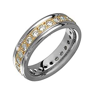 Kazaa Two Tone Titanium Band 14K Yellow Gold Inlay Cubic Zirconias 5.5mm Wide Ring Him Her Size 8.5