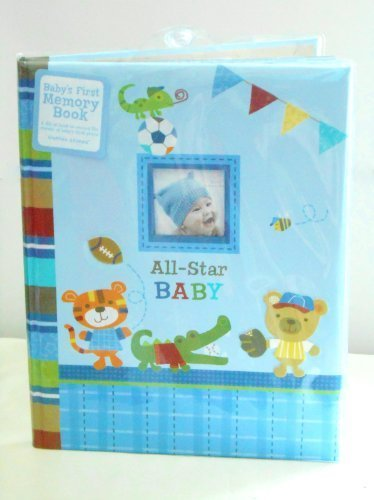 "Baby's First Memory Book ""All-star Baby"" Animals Playing Sports (Football, Baseball, Basketball) - 1"
