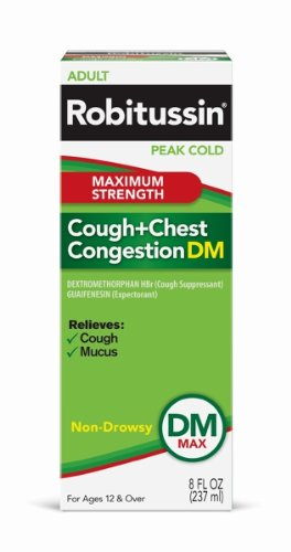 Robitussin Peak Cold Maximum Strength Cough and Chest Congestion DM, 8-Ounce