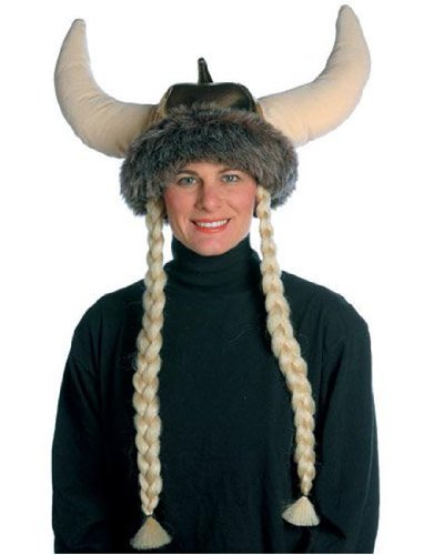 Space Viking Helmet With Braids Costume Hat Adult