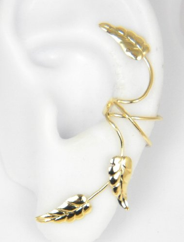 Gold Vermeil 3 Southwest leaves Full Ear Cuff for Left Ear