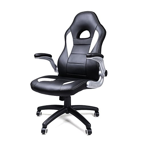 acheter songmics chaise fauteuil si ge de bureau racing sport pu hau. Black Bedroom Furniture Sets. Home Design Ideas