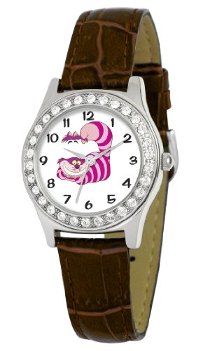 Disney Women's D1499S007 Queen Collection Cheshire Cat Brown Leather Strap Watch