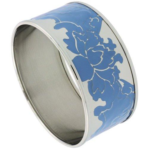 Stainless Steel Slip-On Bangle Bracelet w/ Blue Floral Vine Pattern, (30 mm) wide, 62mm Diameter