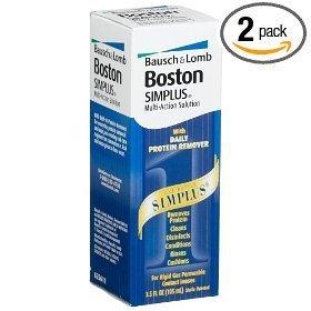 Boston Simplus Multi-Action Solution for Rigid Gas Permeable Contact Lenses (Pack of 2) Two 3.5 oz Bottles + One 1 oz Travel Bottle TOTAL 8 fl oz Plus Bonus One Contact Lens Case
