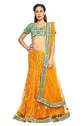 Designersareez Women Net Embroidered Orange Lehenga Choli With Matching Dupatta(1572)