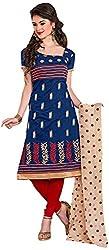 Manmauj Women's Cotton Unstitched Dress Material (MM10022DBLU, Blue)