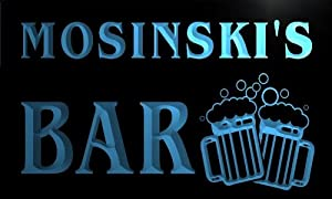 w103512 b MOSINSKI Name Home Bar Pub Beer Mugs Cheers Neon Light Sign
