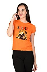 LetsFlaunt SELFIE Dog T-shirt Girls Orange Dry-Fit-X-Small Nw