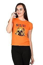 LetsFlaunt SELFIE Dog T-shirt Girls Orange Dry-Fit-X-Large Nw