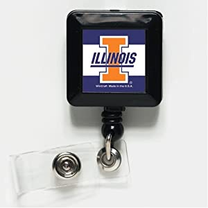 Illinois Fighting Illini Official NCAA 1x1 Retractable Badge Holder Keychain by WinCraft