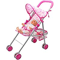 Doll Pram,Happy Celleart Bear Design Precious Pretend Play Toys For Baby And Toddler With Safety Buckle Bearing...