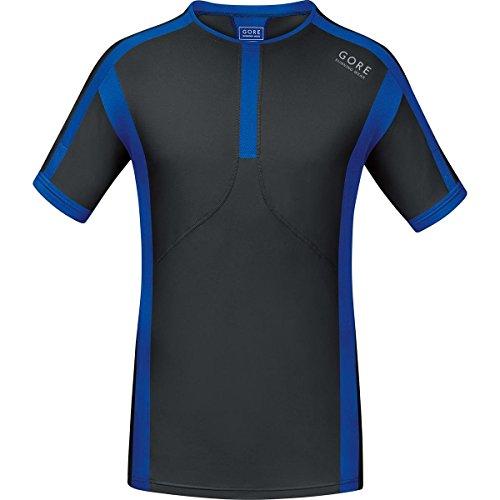 GORE RUNNING WEAR, Maglia Corsa Uomo, Maniche corte, Ultraleggera, GORE Selected Fabrics, Air, Taglia XXL, Nero/Blu, SMAIRS996007